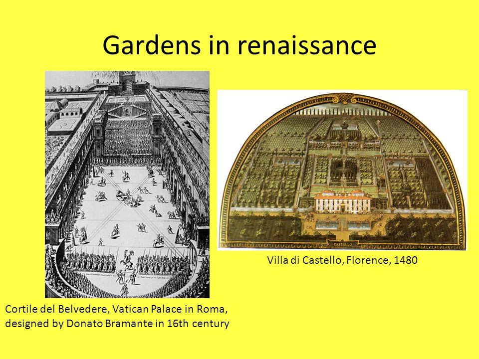 Gardens in renaissance Cortile del Belvedere, Vatican Palace in Roma, designed by Donato Bramante in 16th century Villa di Castello, Florence, 1480