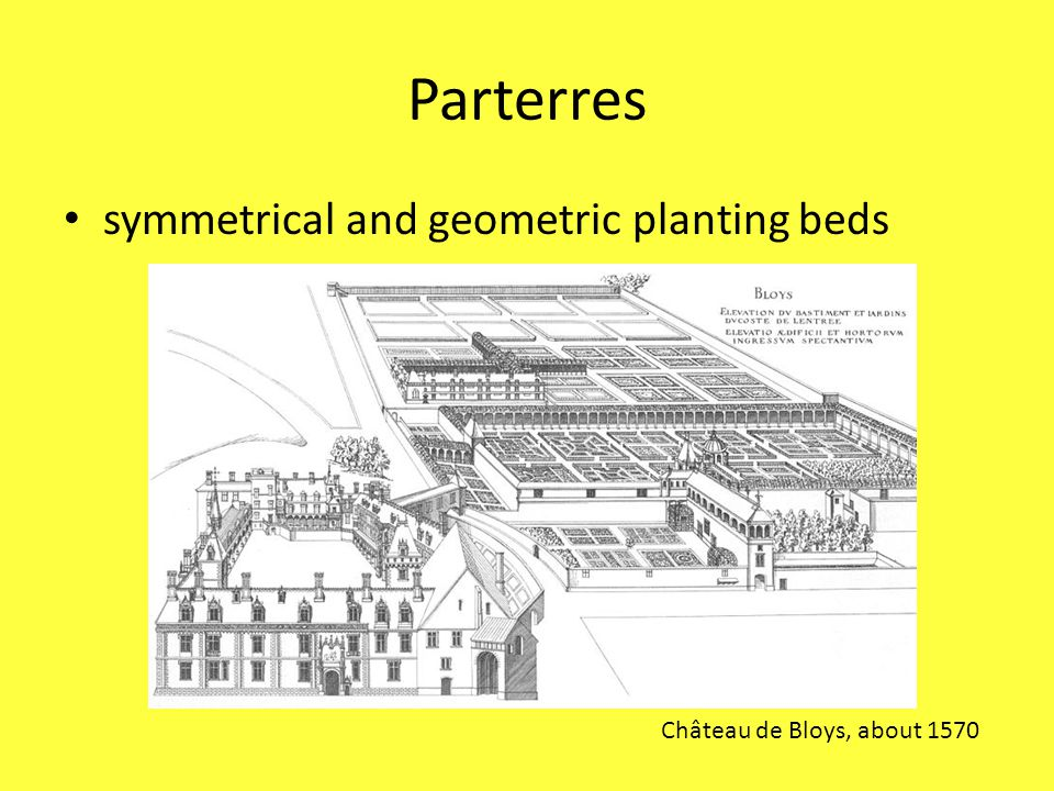 Parterres symmetrical and geometric planting beds Château de Bloys, about 1570