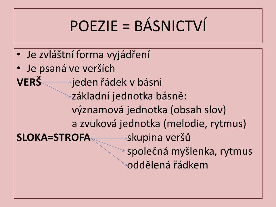 POEZIE = BÁSNICTVÍ Je zvláštní forma vyjádření Je psaná ve verších VERŠ jeden řádek v básni základní jednotka básně: významová jednotka (obsah slov) a
