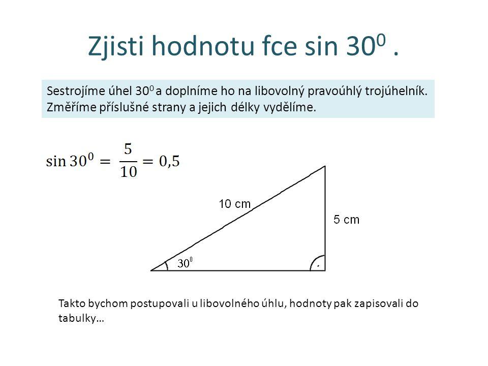 Zjisti hodnotu fce sin 30 0. Sestrojíme úhel 30 0 a doplníme ho na libovolný pravoúhlý trojúhelník. Změříme příslušné strany a jejich délky vydělíme.
