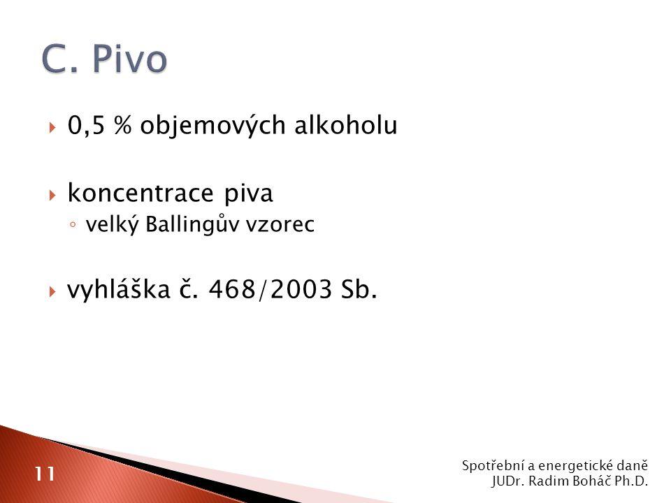  0,5 % objemových alkoholu  koncentrace piva ◦ velký Ballingův vzorec  vyhláška č.