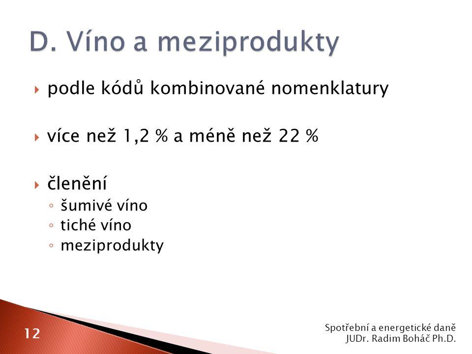  podle kódů kombinované nomenklatury  více než 1,2 % a méně než 22 %  členění ◦ šumivé víno ◦ tiché víno ◦ meziprodukty Spotřební a energetické daně JUDr.