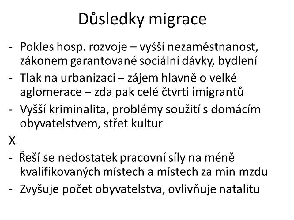 Důsledky migrace -Pokles hosp.