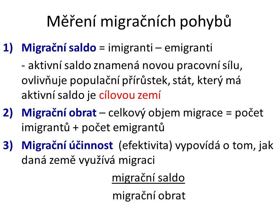 Měření migračních pohybů 1)Migrační saldo = imigranti – emigranti - aktivní saldo znamená novou pracovní sílu, ovlivňuje populační přírůstek, stát, který má aktivní saldo je cílovou zemí 2)Migrační obrat – celkový objem migrace = počet imigrantů + počet emigrantů 3)Migrační účinnost (efektivita) vypovídá o tom, jak daná země využívá migraci migrační saldo migrační obrat