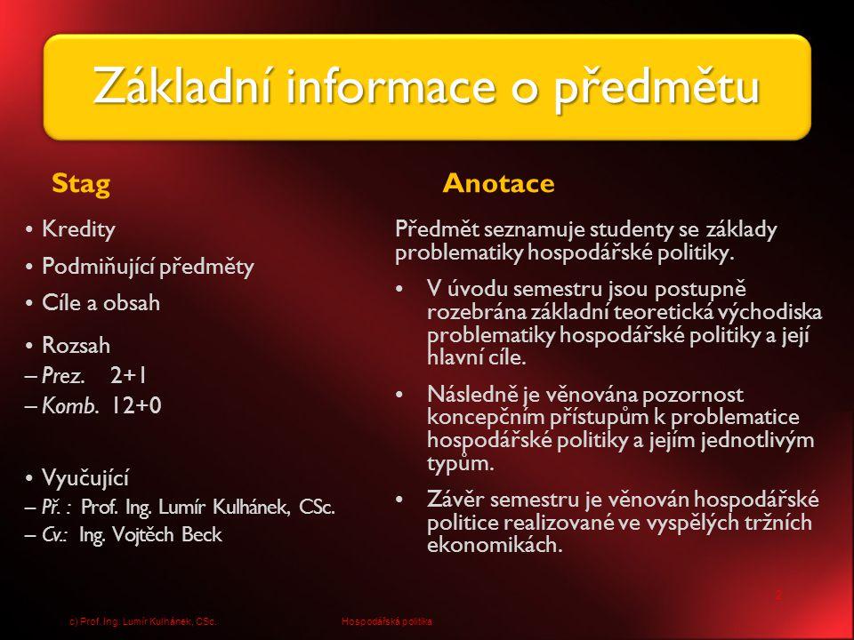 13 Hospodářská politikac) Prof. Ing. Lumír Kulhánek, CSc.