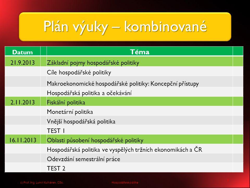 16 Hospodářská politikac) Prof. Ing. Lumír Kulhánek, CSc.