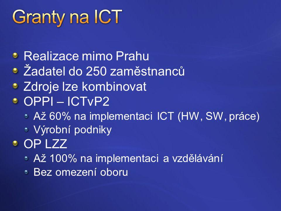 Realizace mimo Prahu Žadatel do 250 zaměstnanců Zdroje lze kombinovat OPPI – ICTvP2 Až 60% na implementaci ICT (HW, SW, práce) Výrobní podniky OP LZZ Až 100% na implementaci a vzdělávání Bez omezení oboru