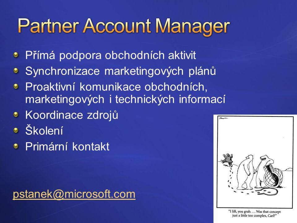 Přímá podpora obchodních aktivit Synchronizace marketingových plánů Proaktivní komunikace obchodních, marketingových i technických informací Koordinace zdrojů Školení Primární kontakt pstanek@microsoft.com