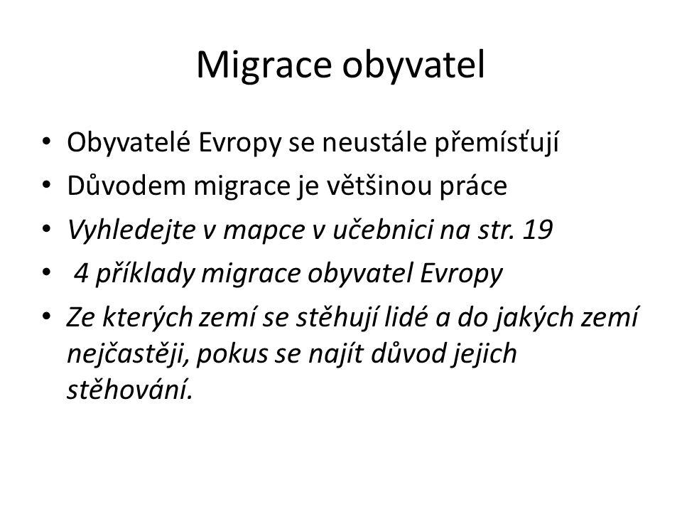 Migrace obyvatel Obyvatelé Evropy se neustále přemísťují Důvodem migrace je většinou práce Vyhledejte v mapce v učebnici na str.