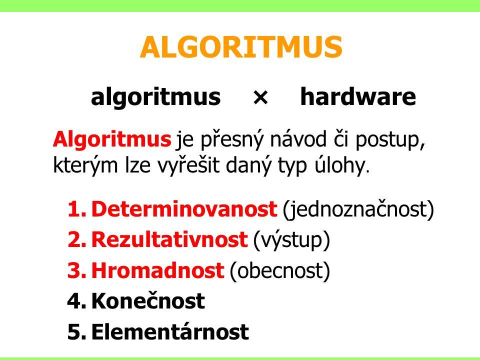 ALGORITMUS algoritmus ×hardware Algoritmus je přesný návod či postup, kterým lze vyřešit daný typ úlohy. 1.Determinovanost (jednoznačnost) 2.Rezultati