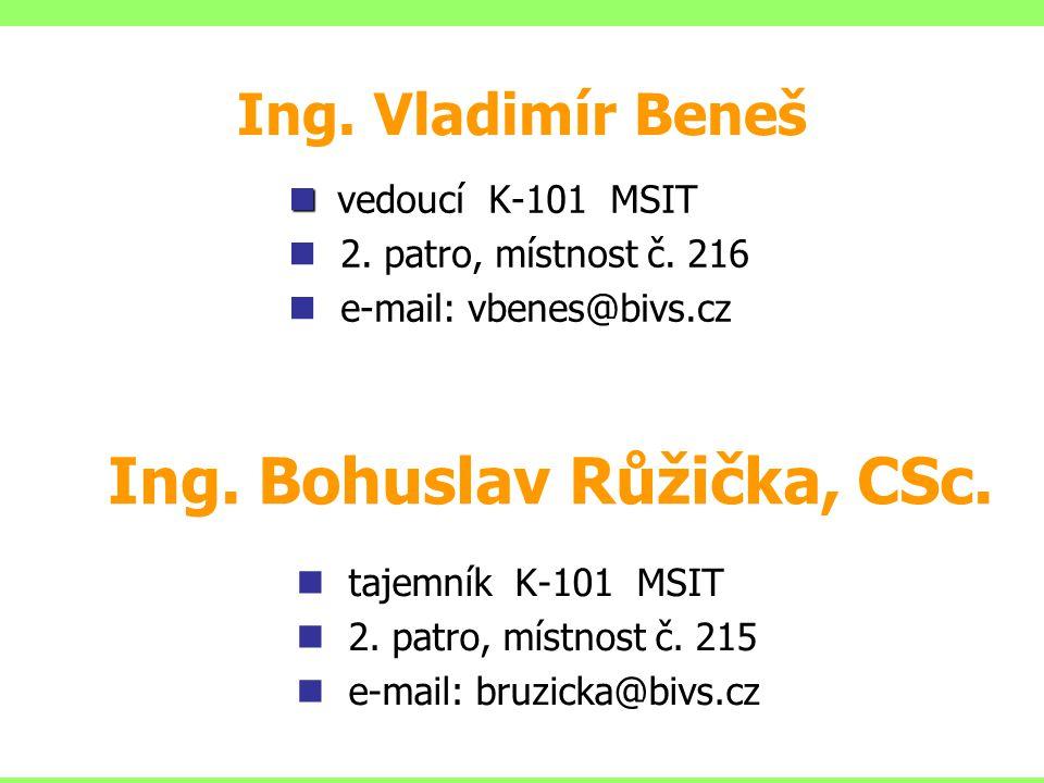 Ing. Bohuslav Růžička, CSc. tajemník K-101 MSIT 2. patro, místnost č. 215 e-mail: bruzicka@bivs.cz Ing. Vladimír Beneš vedoucí K-101 MSIT 2. patro, mí