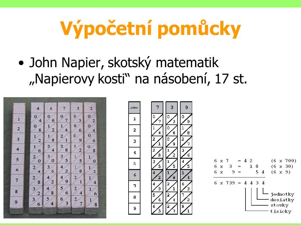 """Výpočetní pomůcky John Napier, skotský matematik """"Napierovy kosti"""" na násobení, 17 st."""
