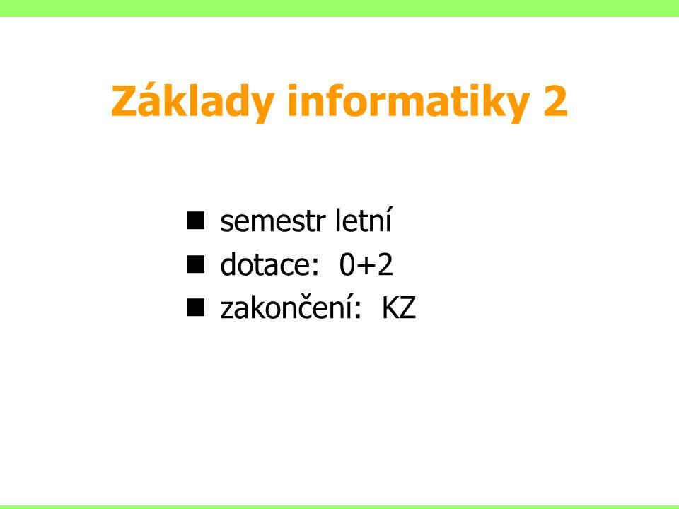 Základy informatiky 2 semestr letní dotace: 0+2 zakončení: KZ