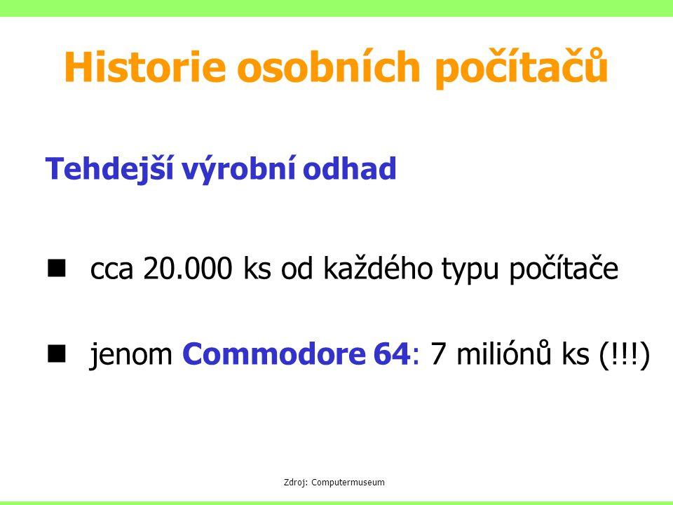 Tehdejší výrobní odhad cca 20.000 ks od každého typu počítače jenom Commodore 64: 7 miliónů ks (!!!) Zdroj: Computermuseum Historie osobních počítačů
