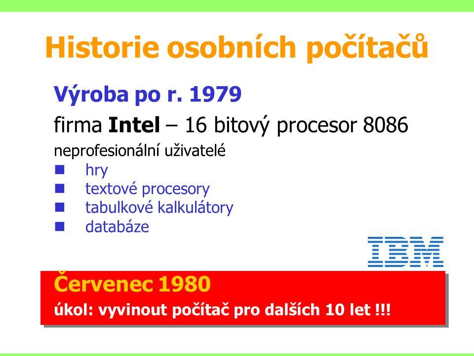 Výroba po r. 1979 firma Intel – 16 bitový procesor 8086 neprofesionální uživatelé hry textové procesory tabulkové kalkulátory databáze Červenec 1980 ú