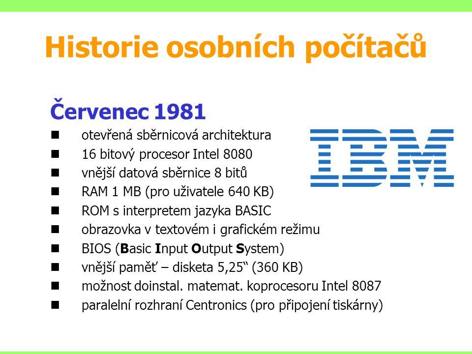 Červenec 1981 otevřená sběrnicová architektura 16 bitový procesor Intel 8080 vnější datová sběrnice 8 bitů RAM 1 MB (pro uživatele 640 KB) ROM s inter