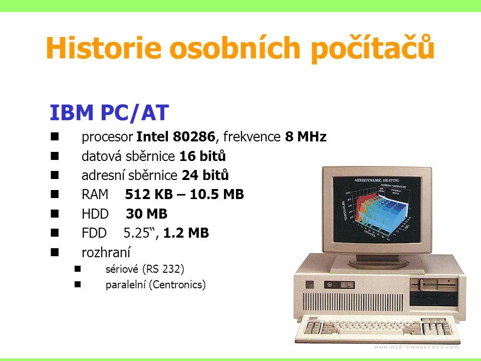 """IBM PC/AT procesor Intel 80286, frekvence 8 MHz datová sběrnice 16 bitů adresní sběrnice 24 bitů RAM 512 KB – 10.5 MB HDD 30 MB FDD 5.25"""", 1.2 MB rozh"""