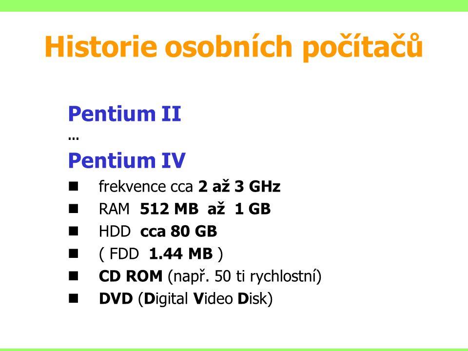 Pentium II … Pentium IV frekvence cca 2 až 3 GHz RAM 512 MB až 1 GB HDD cca 80 GB ( FDD 1.44 MB ) CD ROM (např. 50 ti rychlostní) DVD (Digital Video D
