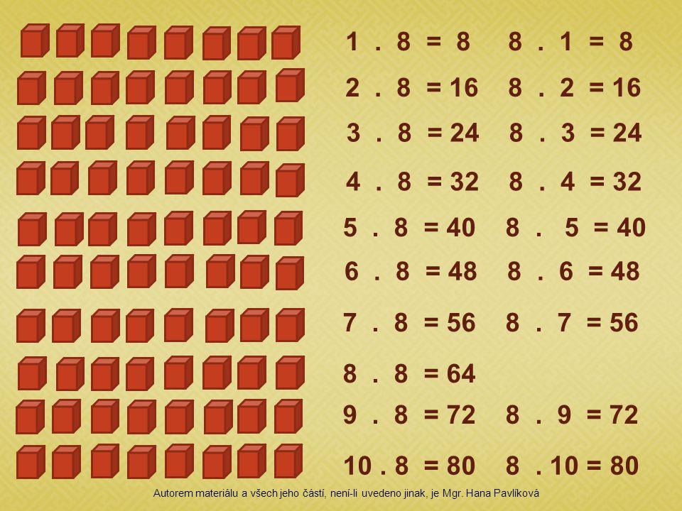 1. 8 = 8 8. 1 = 8 2. 8 = 16 8. 2 = 16 3. 8 = 24 8. 3 = 24 4. 8 = 32 8. 4 = 32 5. 8 = 40 8. 5 = 40 6. 8 = 48 8. 6 = 48 7. 8 = 56 8. 7 = 56 8. 8 = 64 9.