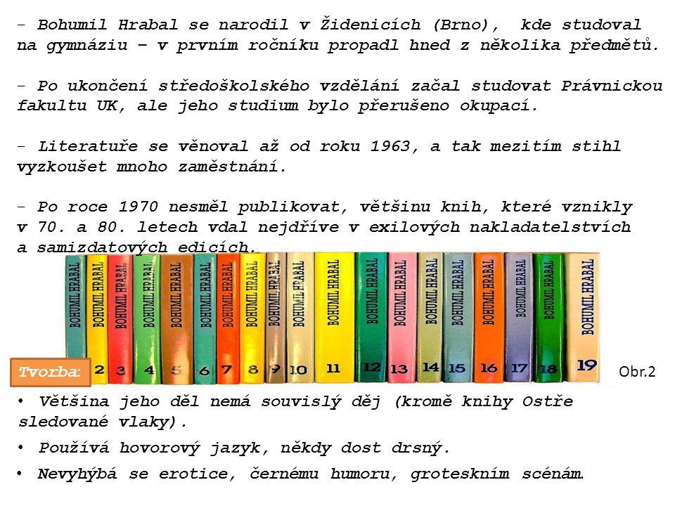 -Bohumil Hrabal se narodil v Židenicích (Brno), kde studoval na gymnáziu – v prvním ročníku propadl hned z několika předmětů.