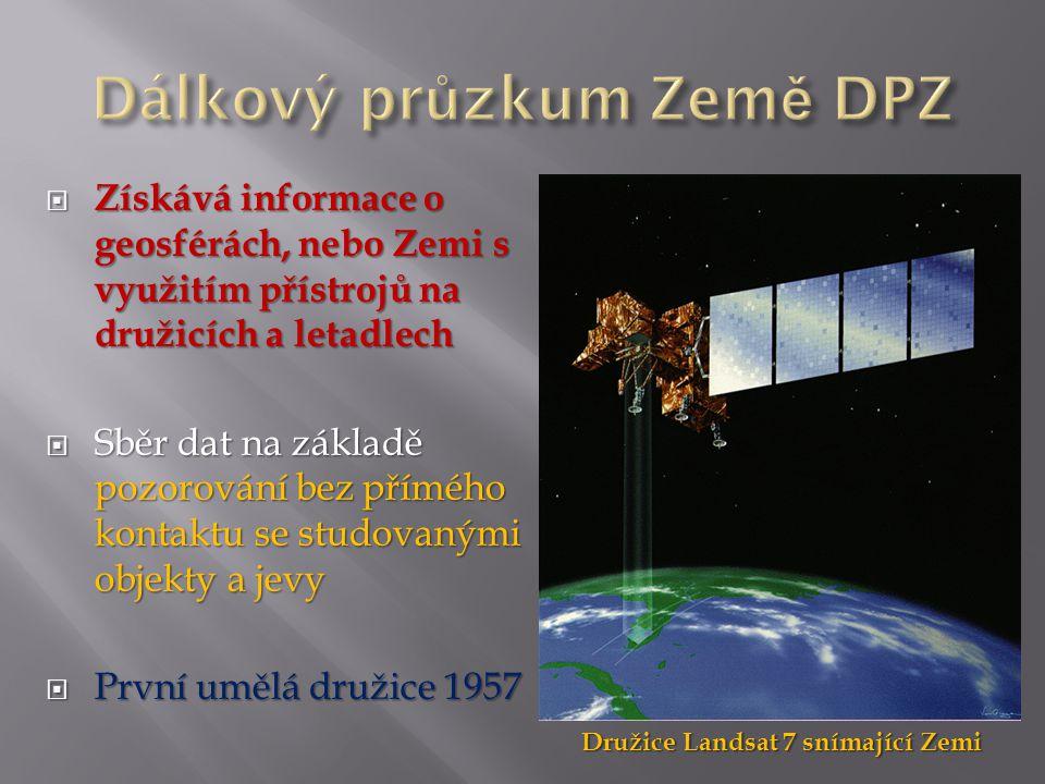  Získává informace o geosférách, nebo Zemi s využitím přístrojů na družicích a letadlech  Sběr dat na základě pozorování bez přímého kontaktu se studovanými objekty a jevy  První umělá družice 1957 Družice Landsat 7 snímající Zemi