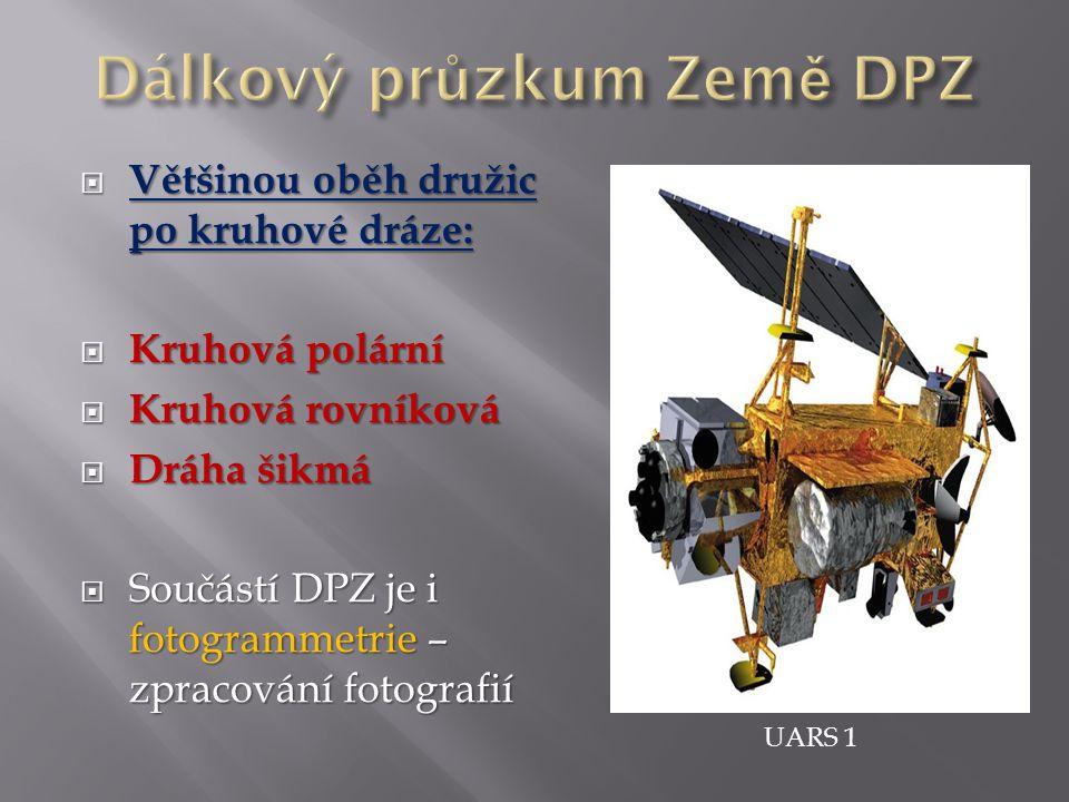  Většinou oběh družic po kruhové dráze:  Kruhová polární  Kruhová rovníková  Dráha šikmá  Součástí DPZ je i fotogrammetrie – zpracování fotografií UARS 1