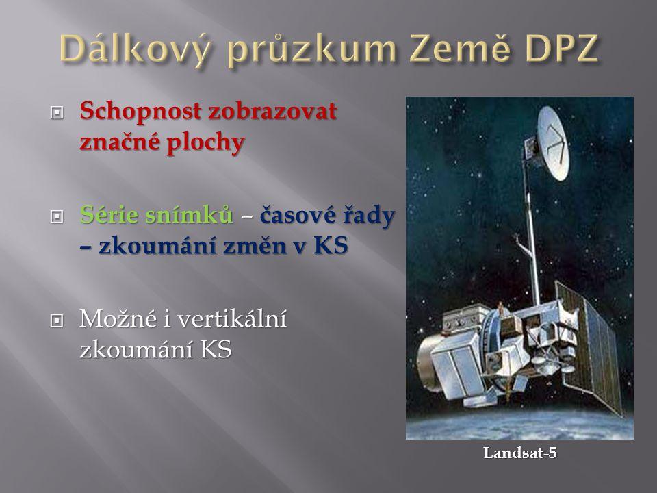  Schopnost zobrazovat značné plochy  Série snímků – časové řady – zkoumání změn v KS  Možné i vertikální zkoumání KS Landsat-5