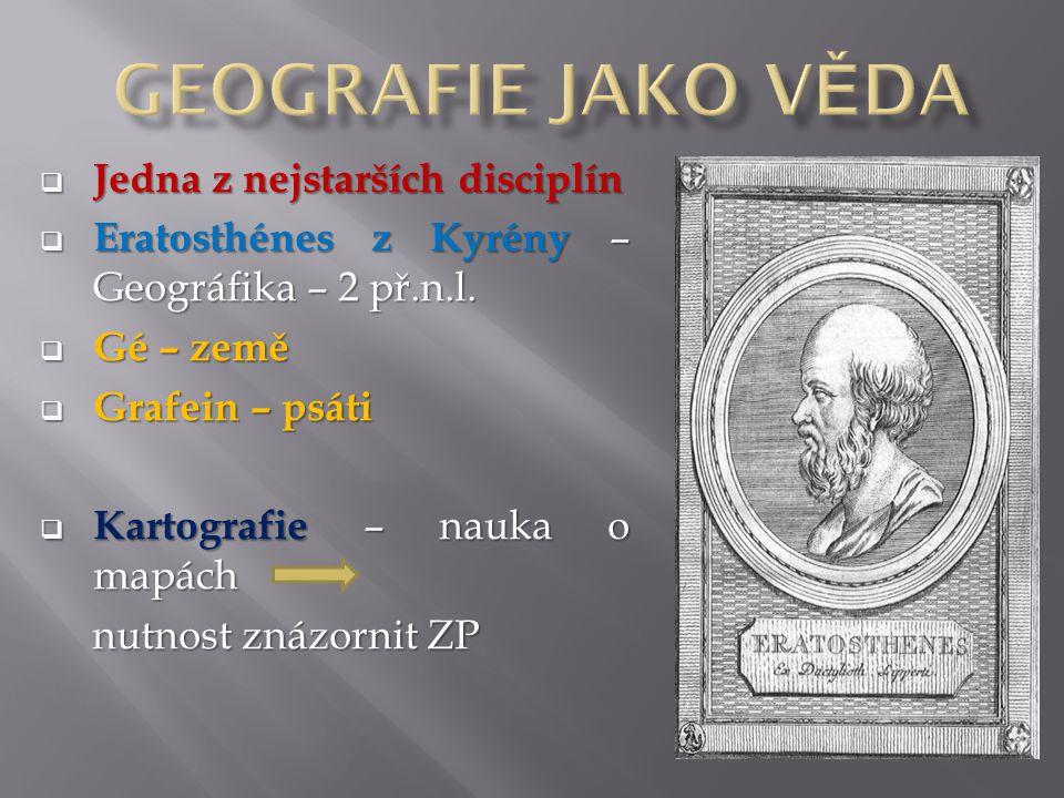  Jedna z nejstarších disciplín  Eratosthénes z Kyrény – Geográfika – 2 př.n.l.