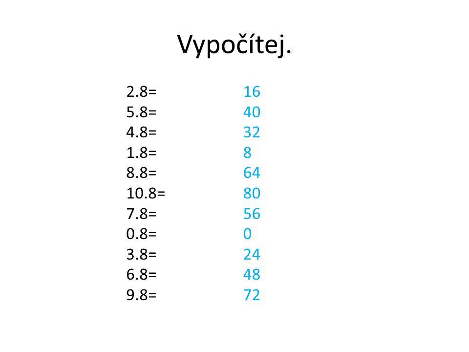 Vypočítej. 2.8= 5.8= 4.8= 1.8= 8.8= 10.8= 7.8= 0.8= 3.8= 6.8= 9.8= 16 40 32 8 64 80 56 0 24 48 72