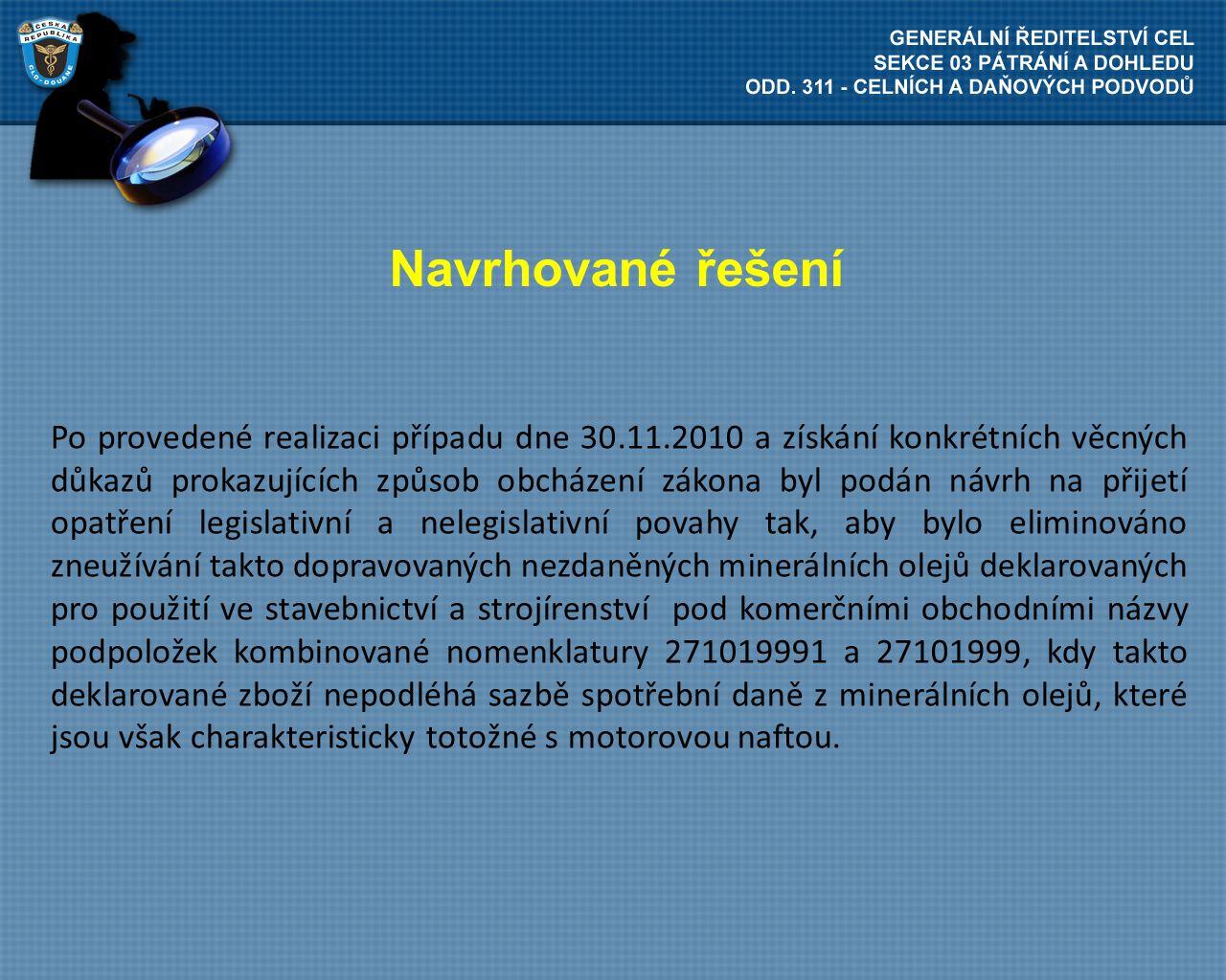 Navrhované řešení Po provedené realizaci případu dne 30.11.2010 a získání konkrétních věcných důkazů prokazujících způsob obcházení zákona byl podán n