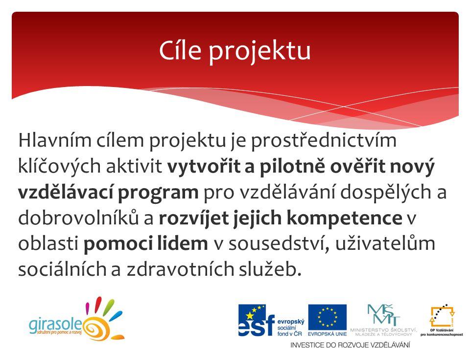 Hlavním cílem projektu je prostřednictvím klíčových aktivit vytvořit a pilotně ověřit nový vzdělávací program pro vzdělávání dospělých a dobrovolníků