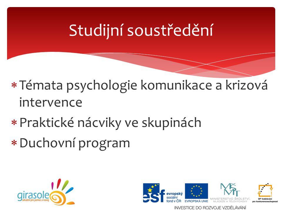  Témata psychologie komunikace a krizová intervence  Praktické nácviky ve skupinách  Duchovní program Studijní soustředění