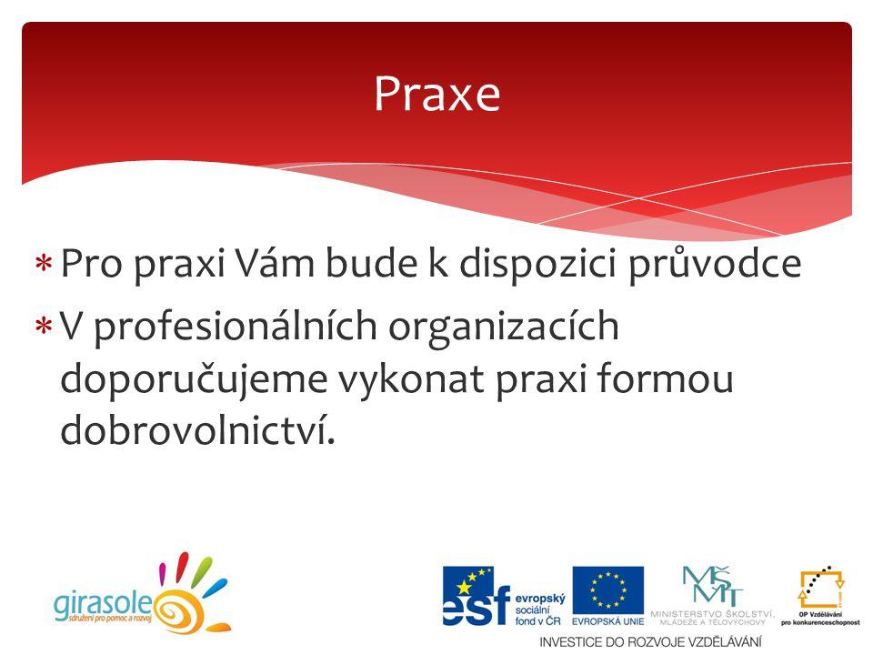  Pro praxi Vám bude k dispozici průvodce  V profesionálních organizacích doporučujeme vykonat praxi formou dobrovolnictví. Praxe