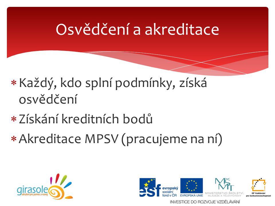  Každý, kdo splní podmínky, získá osvědčení  Získání kreditních bodů  Akreditace MPSV (pracujeme na ní) Osvědčení a akreditace
