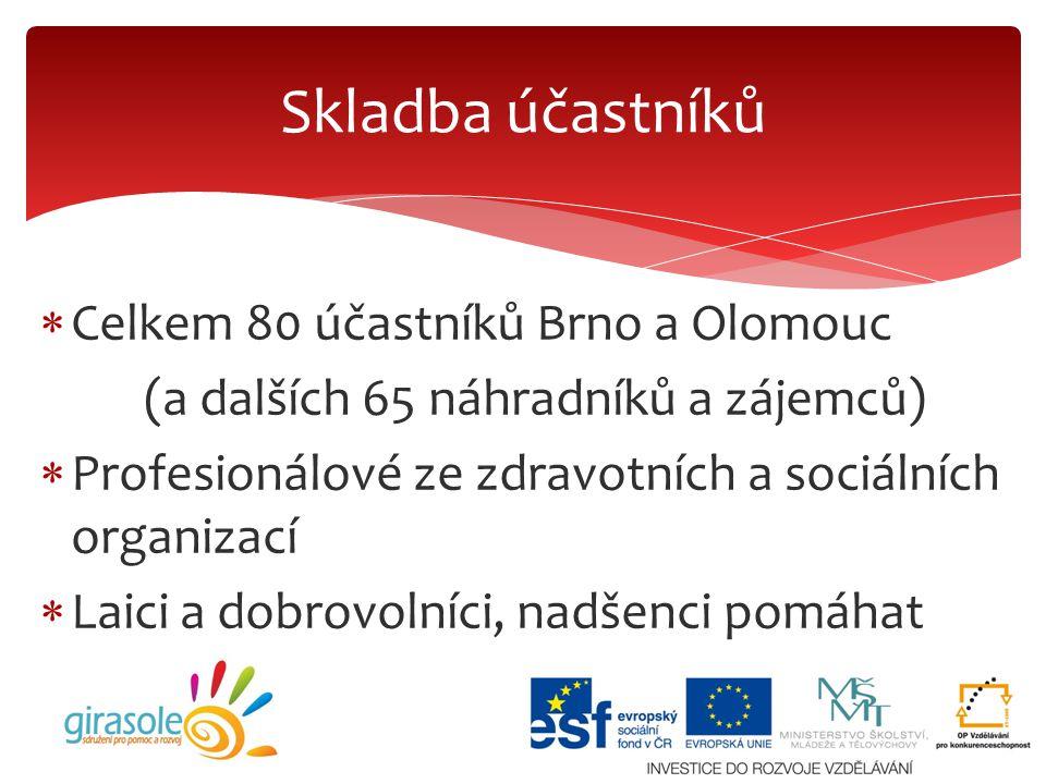  Celkem 80 účastníků Brno a Olomouc (a dalších 65 náhradníků a zájemců)  Profesionálové ze zdravotních a sociálních organizací  Laici a dobrovolníc