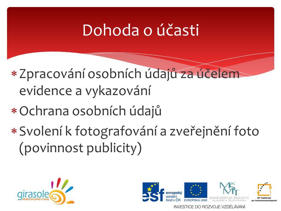  Zpracování osobních údajů za účelem evidence a vykazování  Ochrana osobních údajů  Svolení k fotografování a zveřejnění foto (povinnost publicity)