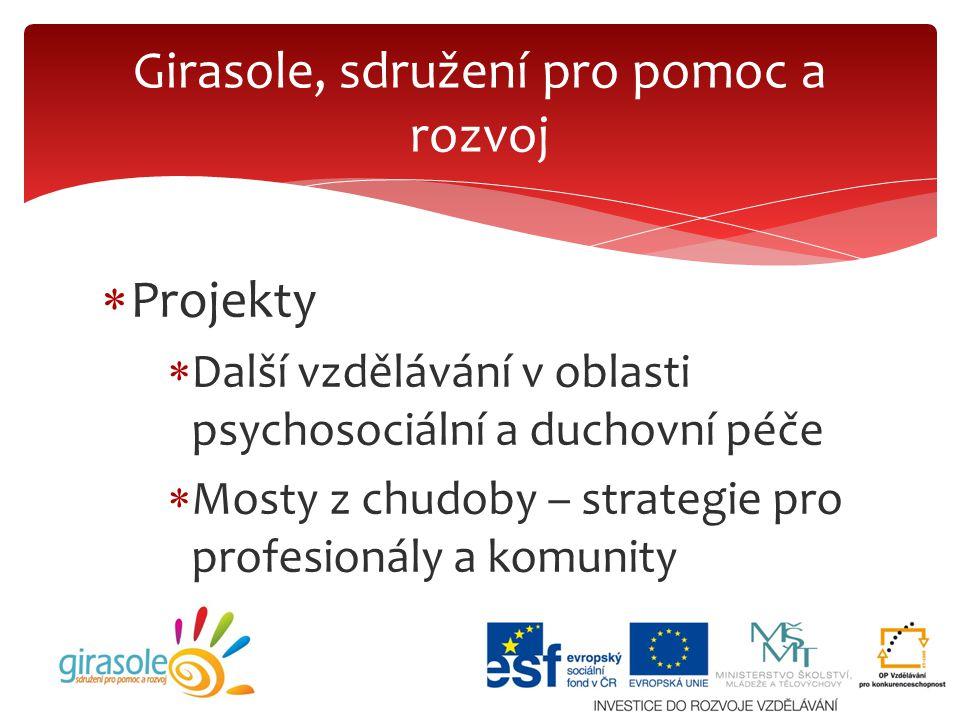  Projekty  Další vzdělávání v oblasti psychosociální a duchovní péče  Mosty z chudoby – strategie pro profesionály a komunity Girasole, sdružení pr