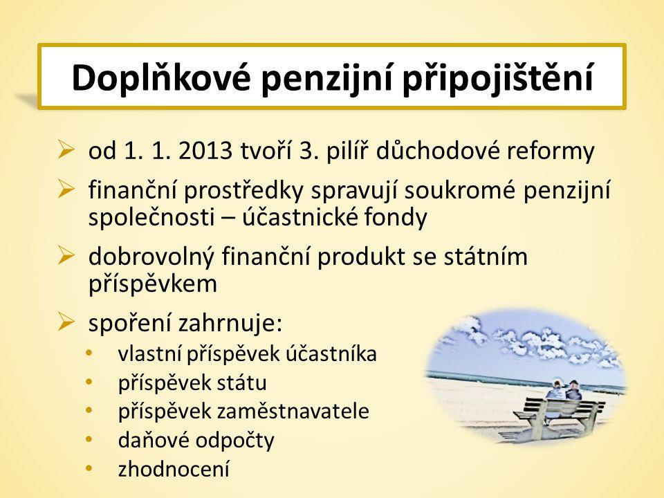 Doplňkové penzijní připojištění  od 1. 1. 2013 tvoří 3.
