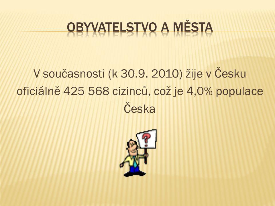 V současnosti (k 30.9. 2010) žije v Česku oficiálně 425 568 cizinců, což je 4,0% populace Česka