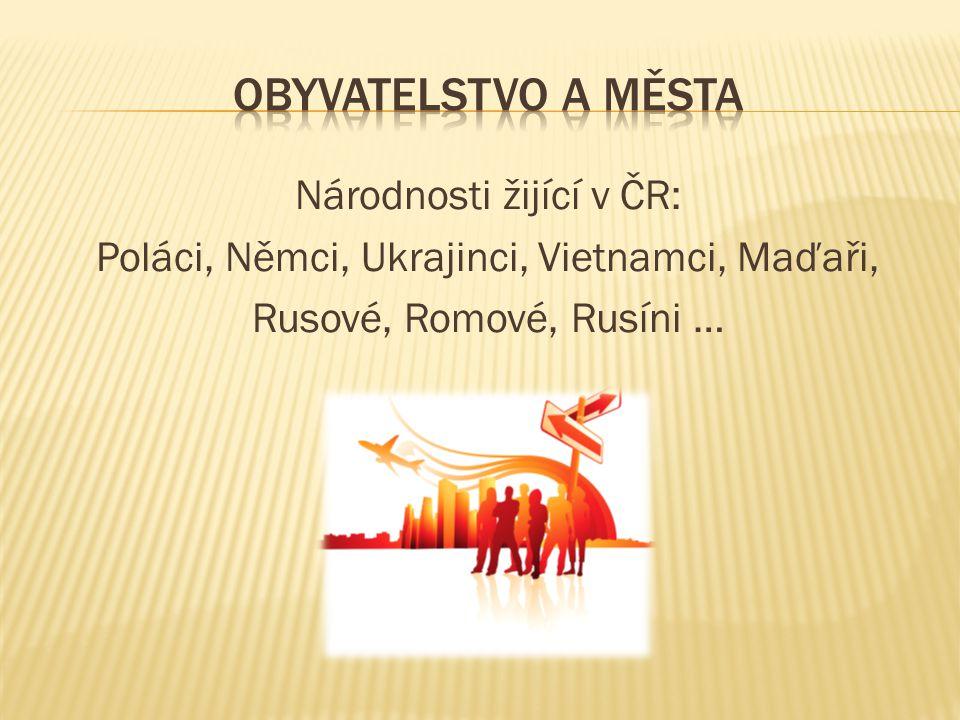 Národnosti žijící v ČR: Poláci, Němci, Ukrajinci, Vietnamci, Maďaři, Rusové, Romové, Rusíni …