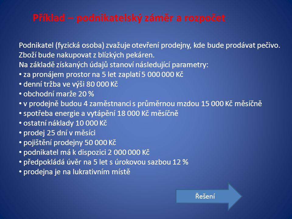 Řešení: A) Výpočty Potřebný kapitál cena nájmu5 000 000 nákup pečiva za měsíc (25*80 000*0,8)1 600 000 mzdy zaměstnanců (4*15 000)60 000 zdravotní a soc.