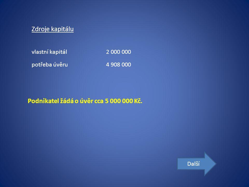 Zdroje kapitálu vlastní kapitál2 000 000 potřeba úvěru4 908 000 Podnikatel žádá o úvěr cca 5 000 000 Kč.