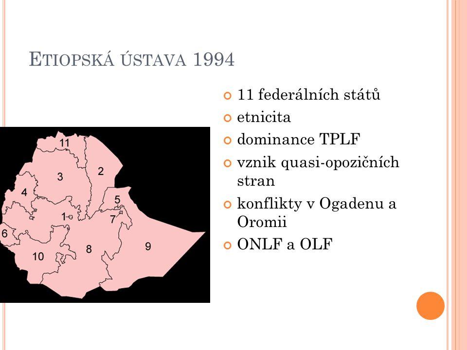 E TIOPSKÁ ÚSTAVA 1994 11 federálních států etnicita dominance TPLF vznik quasi-opozičních stran konflikty v Ogadenu a Oromii ONLF a OLF