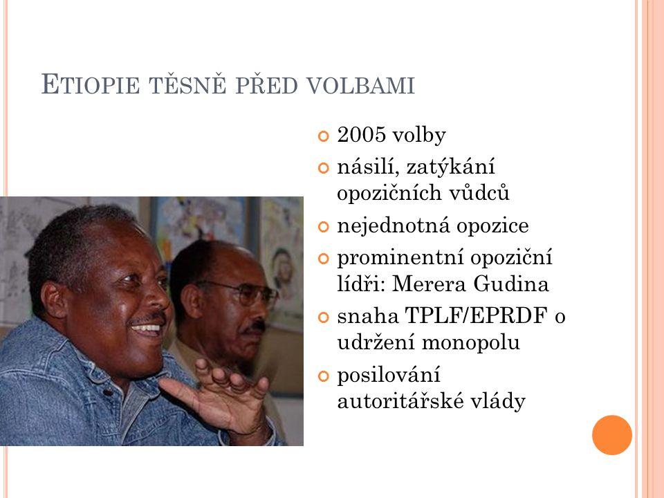 E TIOPIE TĚSNĚ PŘED VOLBAMI 2005 volby násilí, zatýkání opozičních vůdců nejednotná opozice prominentní opoziční lídři: Merera Gudina snaha TPLF/EPRDF o udržení monopolu posilování autoritářské vlády