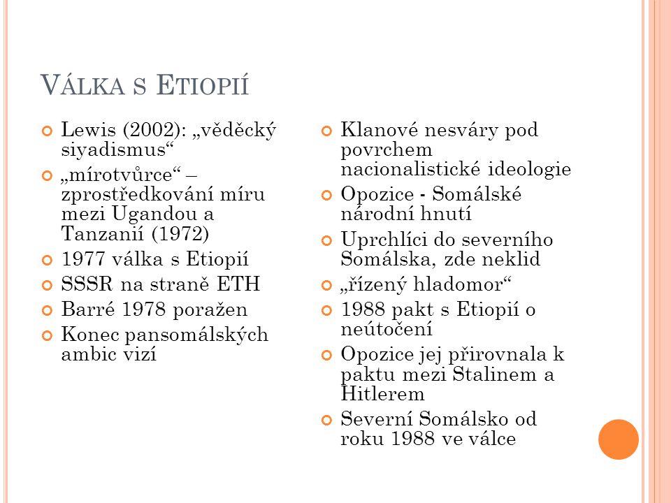 """V ÁLKA S E TIOPIÍ Lewis (2002): """"věděcký siyadismus """"mírotvůrce – zprostředkování míru mezi Ugandou a Tanzanií (1972) 1977 válka s Etiopií SSSR na straně ETH Barré 1978 poražen Konec pansomálských ambic vizí Klanové nesváry pod povrchem nacionalistické ideologie Opozice - Somálské národní hnutí Uprchlíci do severního Somálska, zde neklid """"řízený hladomor 1988 pakt s Etiopií o neútočení Opozice jej přirovnala k paktu mezi Stalinem a Hitlerem Severní Somálsko od roku 1988 ve válce"""