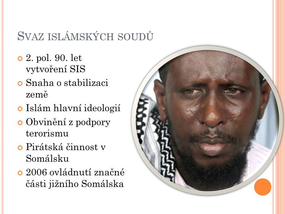 S VAZ ISLÁMSKÝCH SOUDŮ 2. pol. 90. let vytvoření SIS Snaha o stabilizaci země Islám hlavní ideologií Obvinění z podpory terorismu Pirátská činnost v S