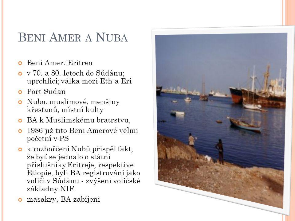 B ENI A MER A N UBA Beni Amer: Eritrea v 70. a 80. letech do Súdánu; uprchlíci; válka mezi Eth a Eri Port Sudan Nuba: muslimové, menšiny křesťanů, mís