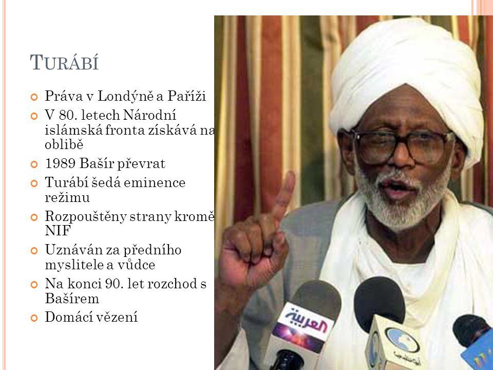 T URÁBÍ Práva v Londýně a Paříži V 80. letech Národní islámská fronta získává na oblibě 1989 Bašír převrat Turábí šedá eminence režimu Rozpouštěny str