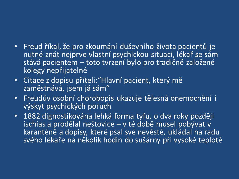 Freud říkal, že pro zkoumání duševního života pacientů je nutné znát nejprve vlastní psychickou situaci, lékař se sám stává pacientem – toto tvrzení bylo pro tradičně založené kolegy nepřijatelné Citace z dopisu příteli: Hlavní pacient, který mě zaměstnává, jsem já sám Freudův osobní chorobopis ukazuje tělesná onemocnění i výskyt psychických poruch 1882 dignostikována lehká forma tyfu, o dva roky později ischias a prodělal neštovice – v té době musel pobývat v karanténě a dopisy, které psal své nevěstě, ukládal na radu svého lékaře na několik hodin do sušárny při vysoké teplotě