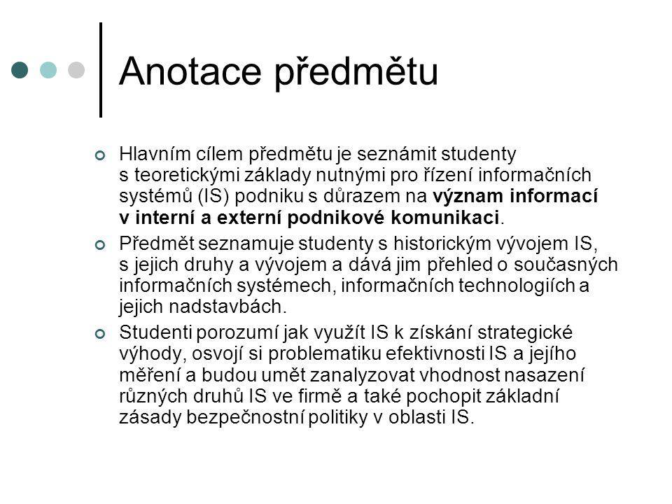 Anotace předmětu Hlavním cílem předmětu je seznámit studenty s teoretickými základy nutnými pro řízení informačních systémů (IS) podniku s důrazem na